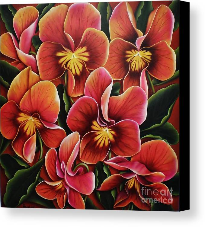Pansies Canvas Print featuring the painting Perfect Love by Paula L