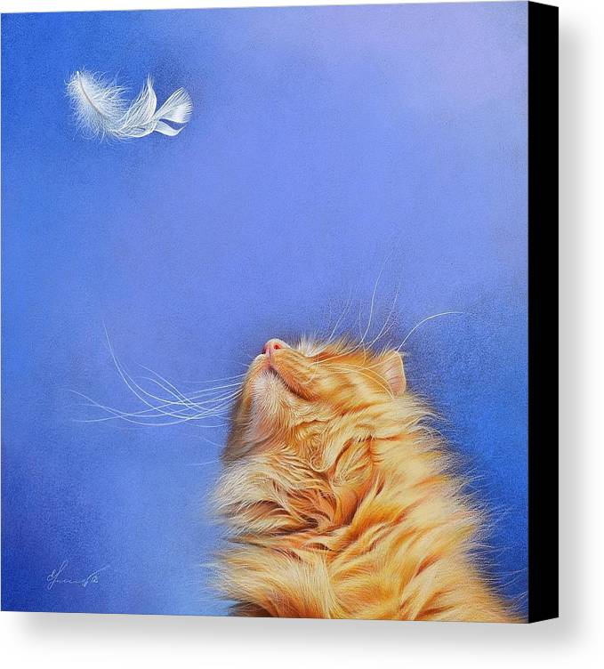 Cat Canvas Print featuring the drawing Temptation by Elena Kolotusha