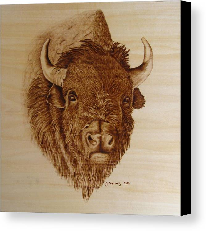 Pyrography Canvas Print featuring the pyrography Chief by Jo Schwartz