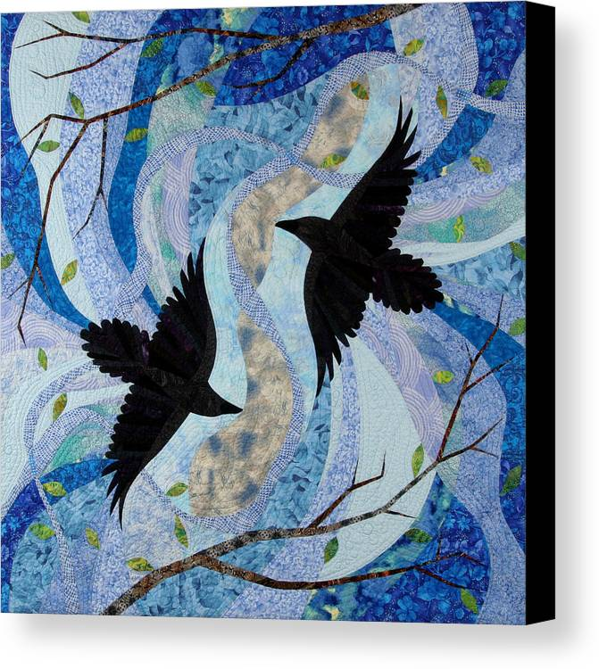 Ravens Canvas Print featuring the tapestry - textile Dancing With The Chinook by Linda Beach