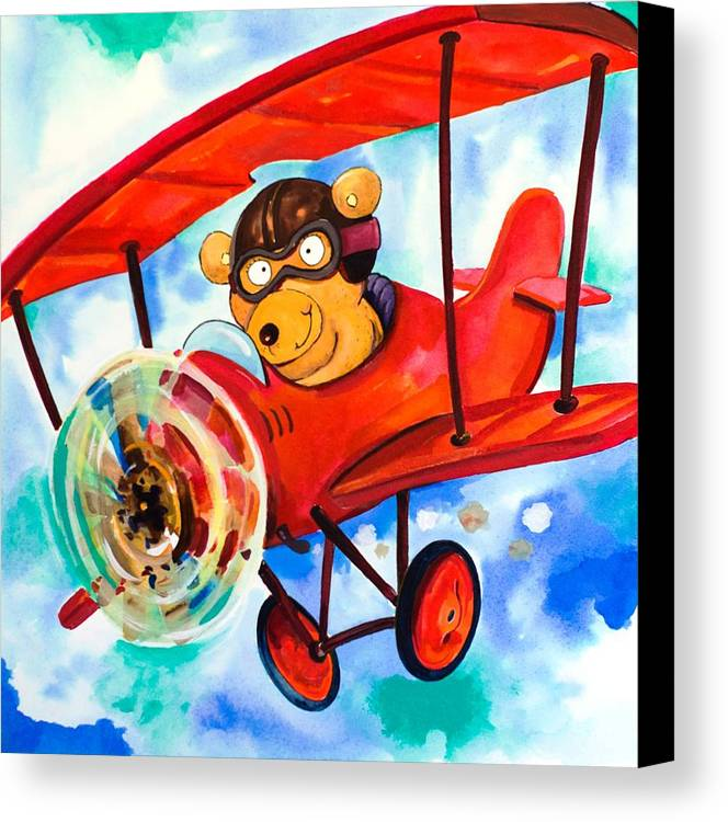 Bear Canvas Print featuring the painting Flying Bear by Scott Nelson