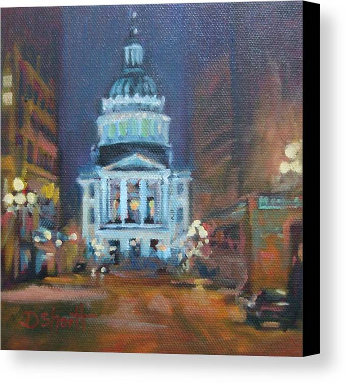 Indianapolis Canvas Print featuring the painting Indy Government Night by Donna Shortt