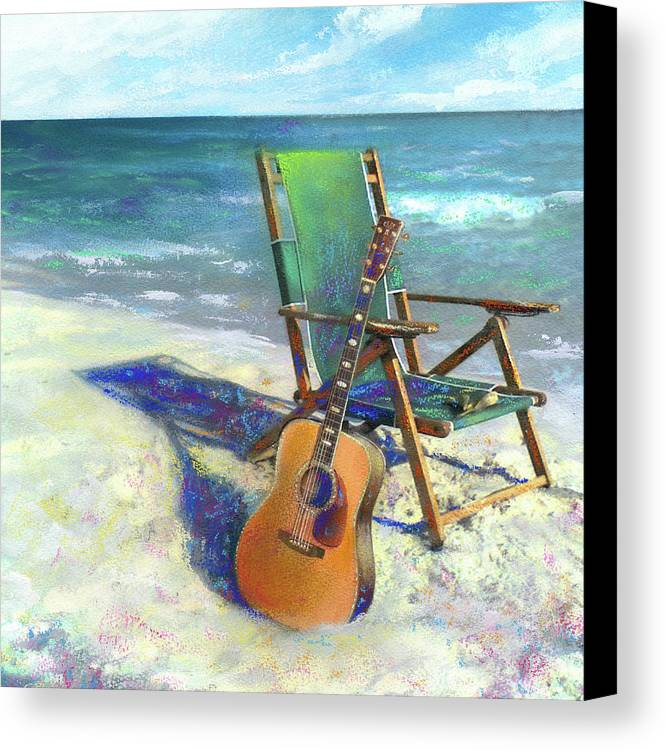 Guitar Canvas Print featuring the painting Martin Goes To The Beach by Andrew King