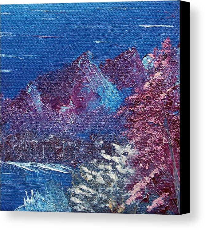 Landscape Canvas Print featuring the painting Purple Mountain Landscape by Jera Sky