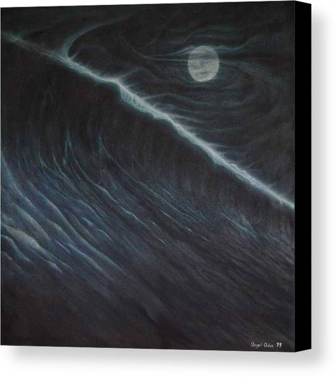 Seascapes Canvas Print featuring the painting Tsunami by Angel Ortiz