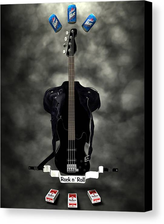 Rock N Roll Canvas Print featuring the digital art Rock N Roll Crest-the Bassist by Frederico Borges