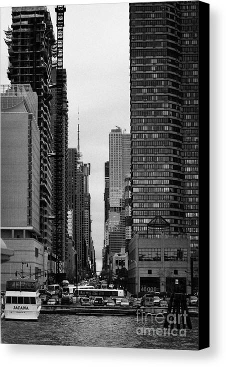 Usa Canvas Print featuring the photograph View Up West 42nd Street From The Hudson River New York City by Joe Fox