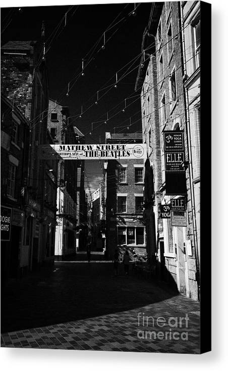 Mathew Canvas Print featuring the photograph Mathew Street In Liverpool City Centre Birthplace Of The Beatles Merseyside England Uk by Joe Fox