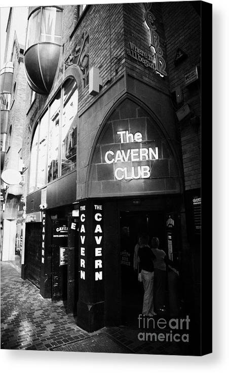 Mathew Canvas Print featuring the photograph The New Cavern Club In Mathew Street In Liverpool City Centre Birthplace Of The Beatles by Joe Fox