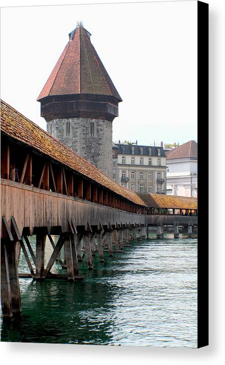 Lucerne Canvas Print featuring the photograph The Kapellbrucke On The River Rueuss by Greg Sharpe