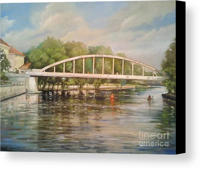 Landscape Canvas Print featuring the painting Tartu Arch Bridge by Ahto Laadoga