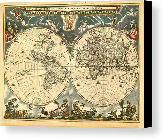 Vintage Canvas Print featuring the digital art World Map by Gary Grayson