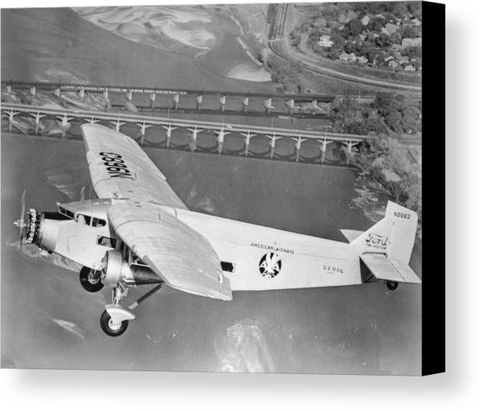 American Airlines Canvas Print featuring the photograph American Airlines Tri-motor by Henri Bersoux