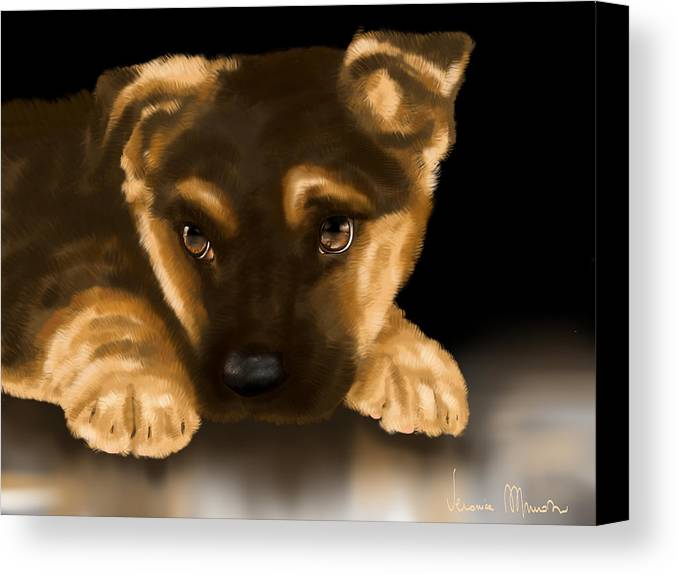 Digital Canvas Print featuring the painting Beautiful Puppy by Veronica Minozzi