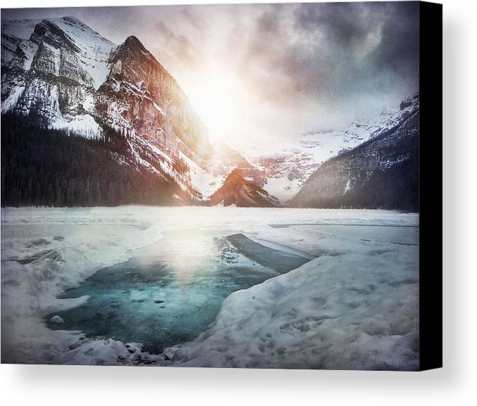 Landcapes Canvas Print featuring the photograph Beginning To Thaw by Kym Clarke