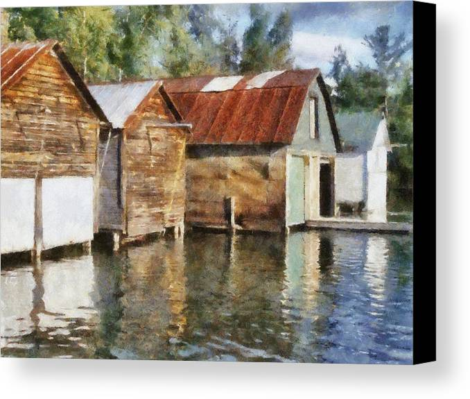 Boat Houses Canvas Print featuring the photograph Boathouses On The Torch River Ll by Michelle Calkins