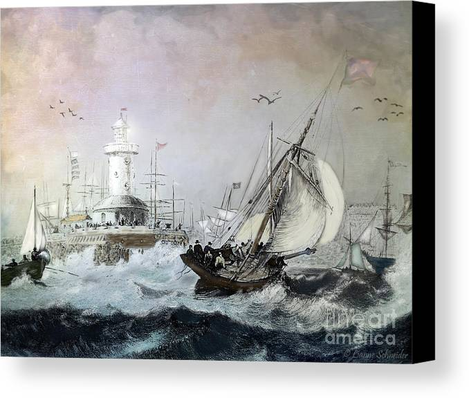 Seascapes Canvas Print featuring the digital art Braving The Storm by Lianne Schneider