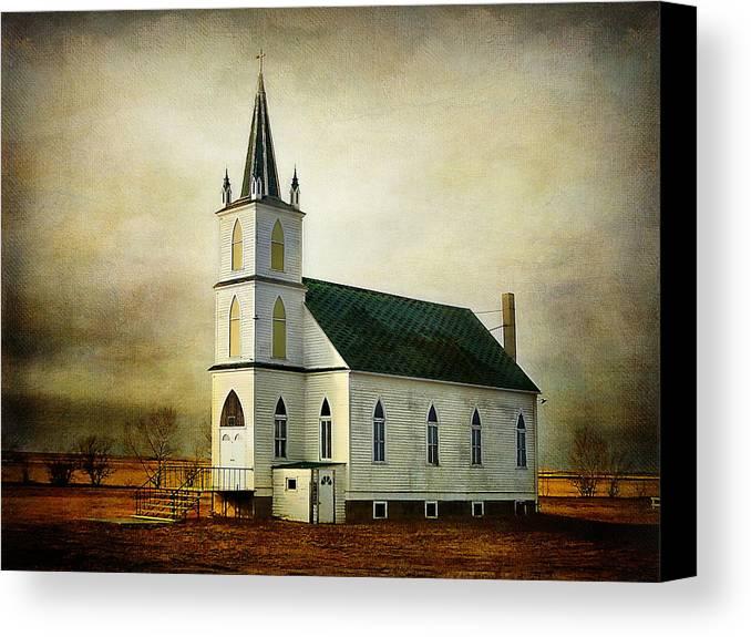 Church Canvas Print featuring the photograph Canadian Prairie Heritage by Blair Wainman