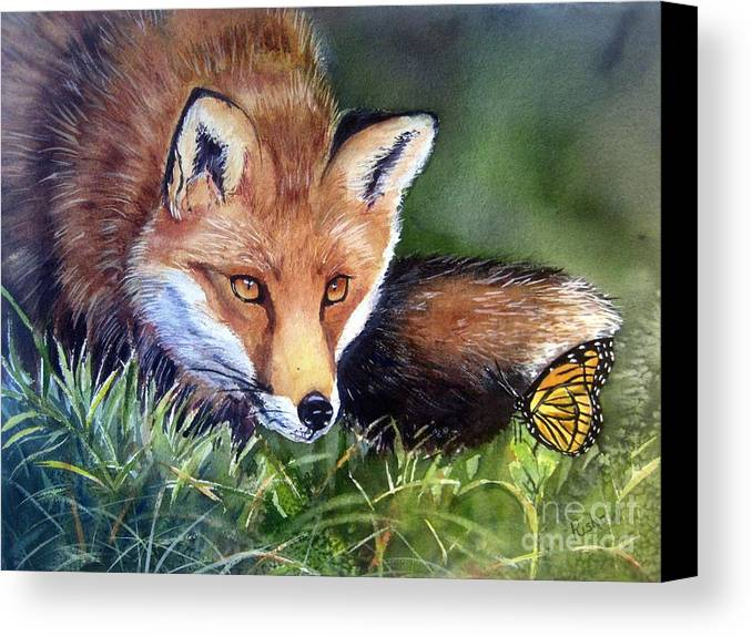 Fox Canvas Print featuring the painting Chance Encounter by Patricia Pushaw