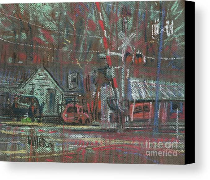 Railroad Canvas Print featuring the painting Gated Crossing by Donald Maier