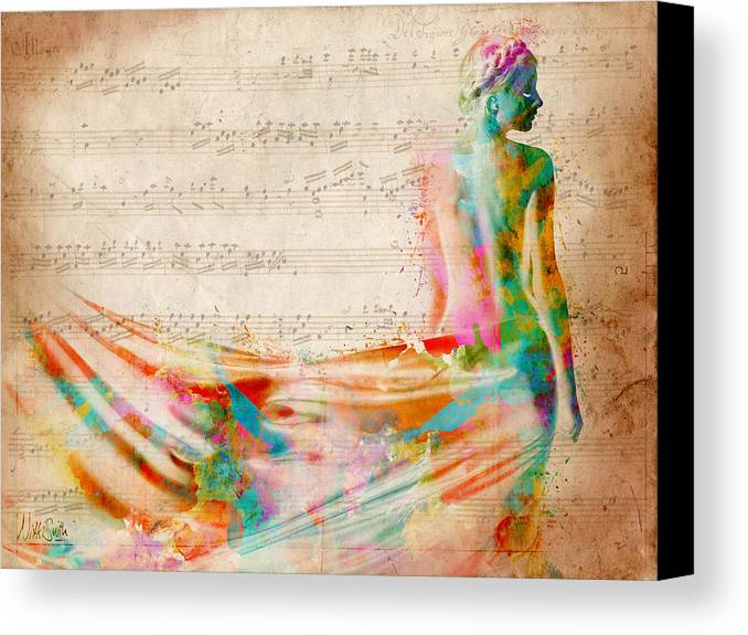 Mozart Canvas Print featuring the digital art Goddess Of Music by Nikki Smith