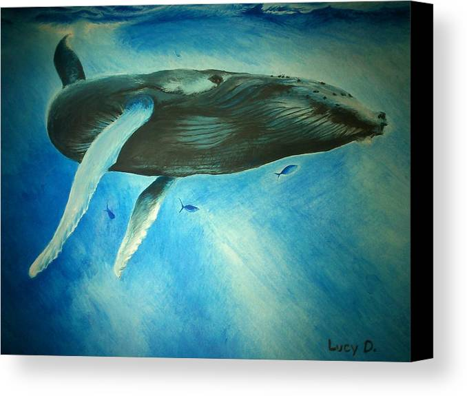 Nature Canvas Print featuring the painting Humpback Whale by Lucy D