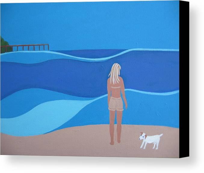 Jack Russell Canvas Print featuring the painting Jack At The Beach by Sandra McHugh
