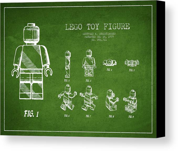 Lego Canvas Print featuring the drawing Lego Toy Figure Patent Drawing From 1979 - Green by Aged Pixel