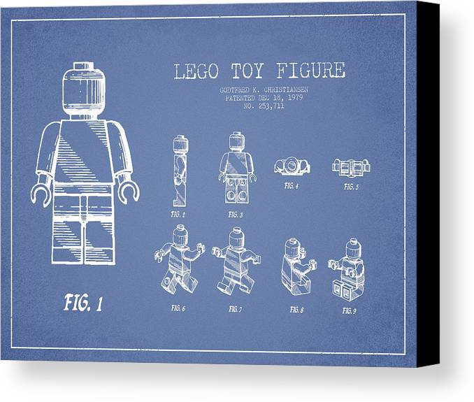 Lego Canvas Print featuring the drawing Lego Toy Figure Patent Drawing From 1979 - Light Blue by Aged Pixel