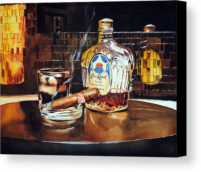 Cigar Canvas Print featuring the painting Mosaic Reflections by Spencer Meagher