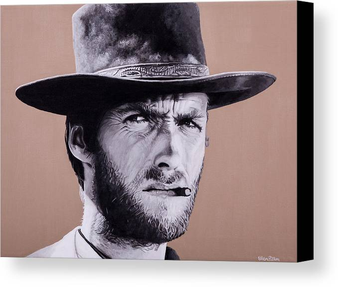 Canvas Print featuring the painting Mr. Eastwood by Ellen Patton
