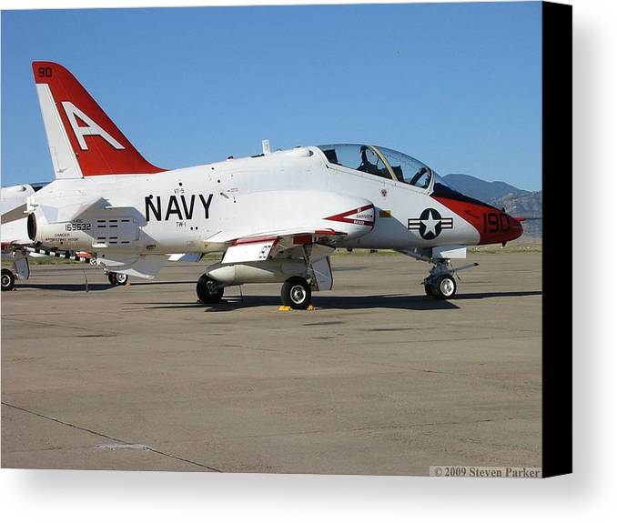 Transportation—plane Canvas Print featuring the photograph Navy T-45 Goshawk by Steven Parker