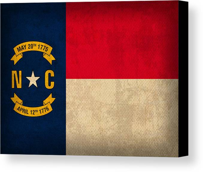 North Canvas Print featuring the mixed media North Carolina State Flag Art On Worn Canvas by Design Turnpike