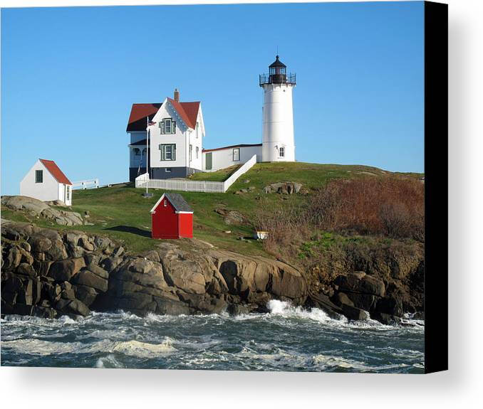 Seascape Canvas Print featuring the photograph Nubble Lighthouse One by Barbara McDevitt