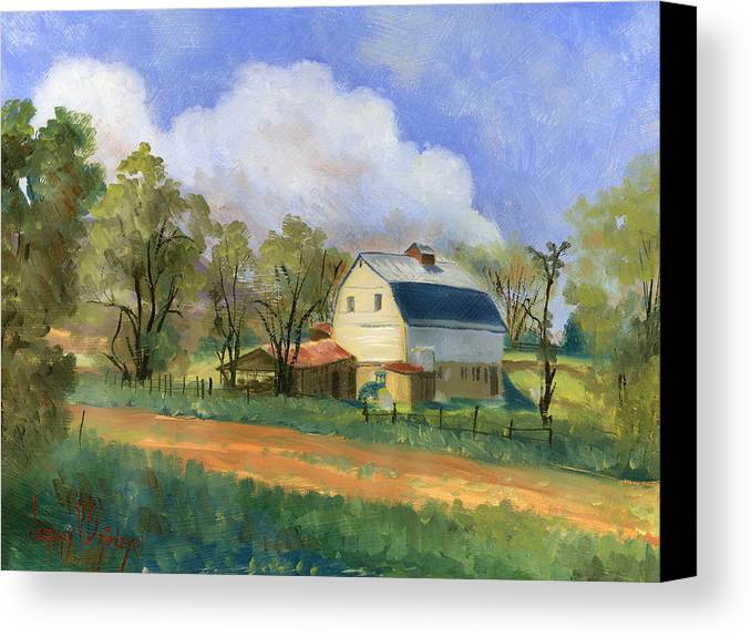 Saunders Canvas Print featuring the painting Old Saunders Barn by Jeff Brimley