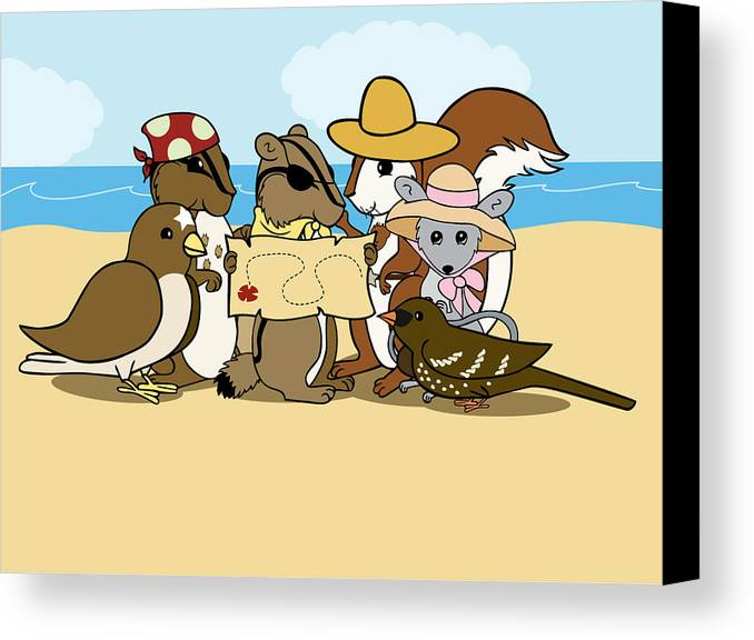 Chipmunk Canvas Print featuring the digital art Pirate Map by Christy Beckwith