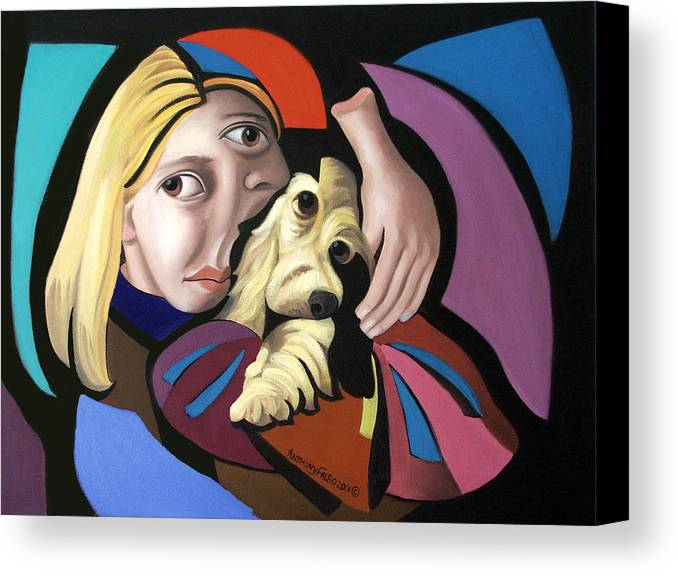 Puppy Love Framed Prints Canvas Print featuring the painting Puppy Love by Anthony Falbo