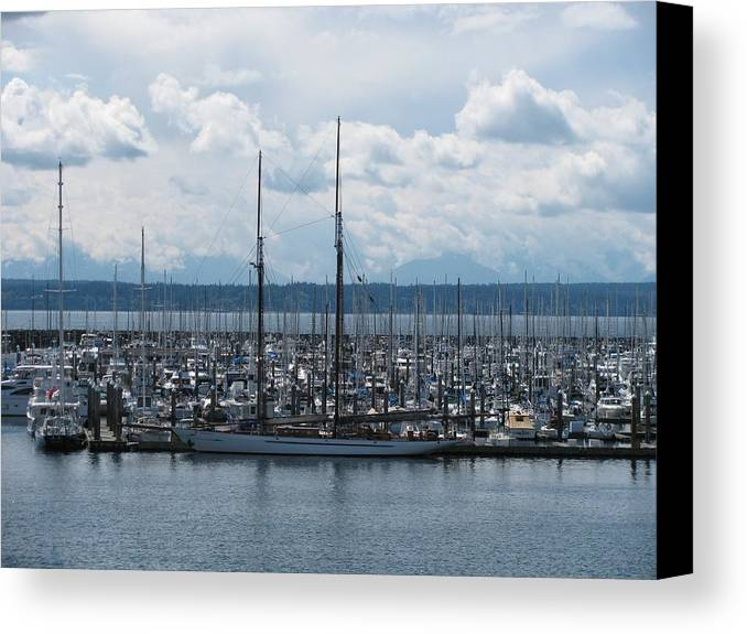 Ransportation Canvas Print featuring the photograph Sailboats In Seattle by Steven Parker