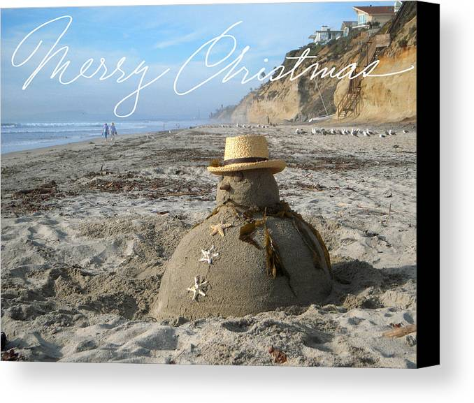 Beach Canvas Print featuring the sculpture Sandman Snowman by Mary Helmreich