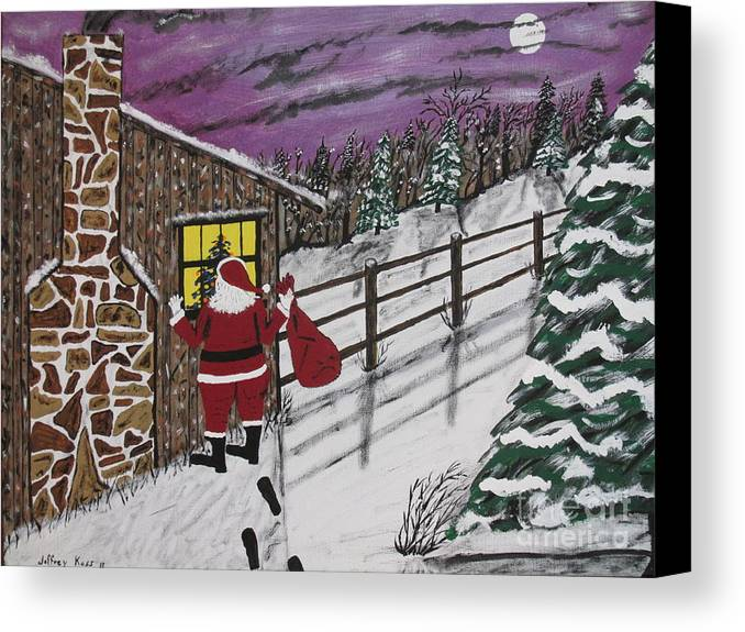 Santa Claus Canvas Print featuring the painting Santa Claus Is Watching by Jeffrey Koss