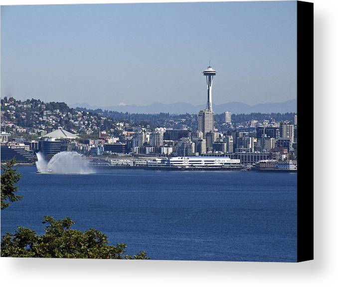 Seattle Canvas Print featuring the photograph Seattle Space Needle And Fire Boat by Ron Roberts