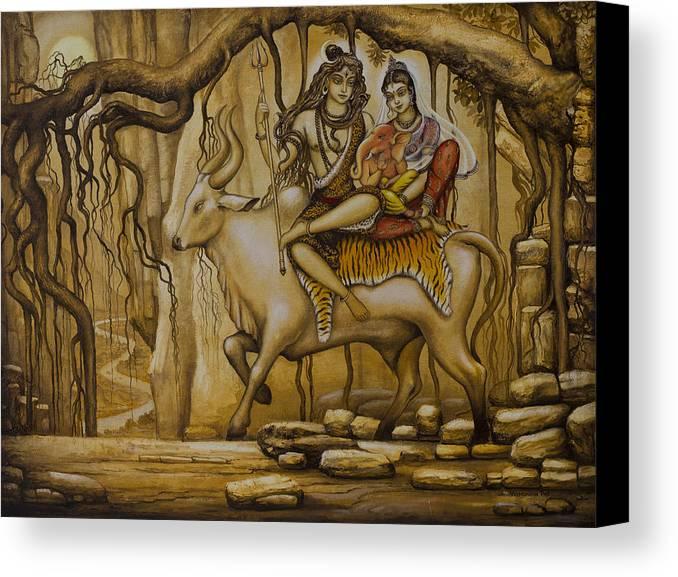 Shiva Canvas Print featuring the painting Shiva Parvati Ganesha by Vrindavan Das