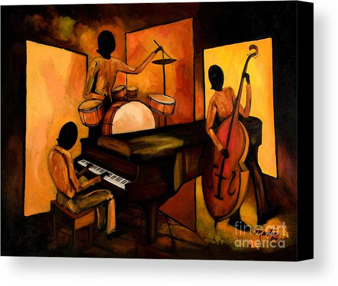 Jazz Canvas Print featuring the painting The 1st Jazz Trio by Larry Martin