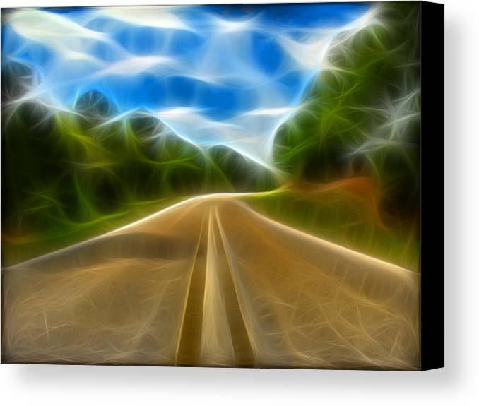 Road Canvas Print featuring the digital art The Journey by Wendy J St Christopher