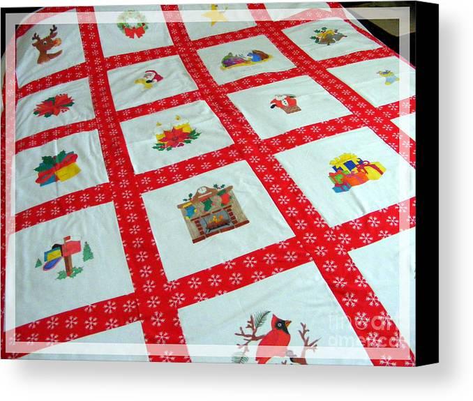 Unique Quilt With Christmas Season Images Canvas Print featuring the tapestry - textile Unique Quilt With Christmas Season Images by Barbara Griffin
