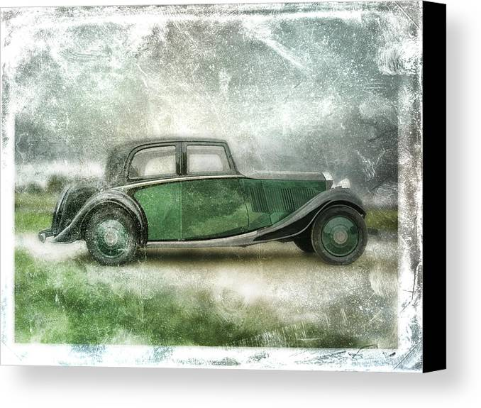 Vintage Canvas Print featuring the digital art Vintage Rolls Royce by David Ridley