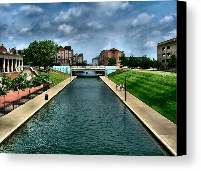 White River Canvas Print featuring the photograph White River Park Canal In Indy by Julie Dant