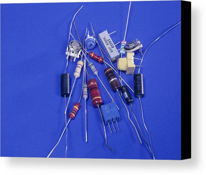Component Canvas Print featuring the photograph Resistors by Andrew Lambert Photography