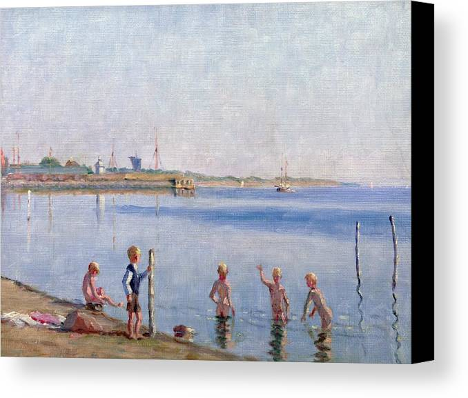 Skinny Dipping Canvas Print featuring the painting Boys At Water's Edge by Johan Rohde
