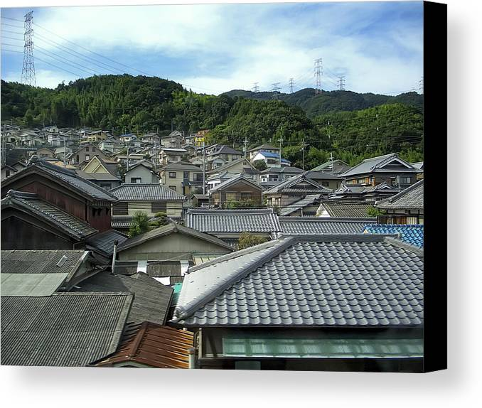 japan Town Canvas Print featuring the photograph Hillside Village In Japan by Daniel Hagerman